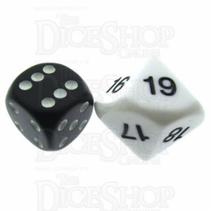 Koplow Opaque White & Black 20mm D10 Dice Numbered 10-19