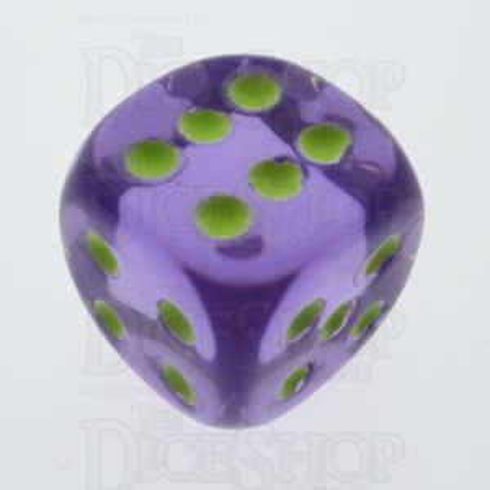 Koplow Glow in the Dark Translucent Purple 16mm D6 Spot Dice