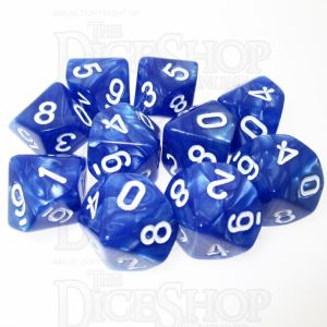 TDSO Pearl Blue & White 10 x D10 Dice Set