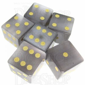 TDSO Cats Eye Grey with Engraved Spots 16mm Precious Gem 6 x D6 Dice Set