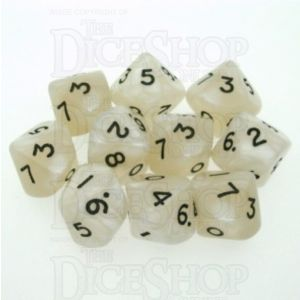 D&G Pearl White & Black 10 x D10 Dice Set