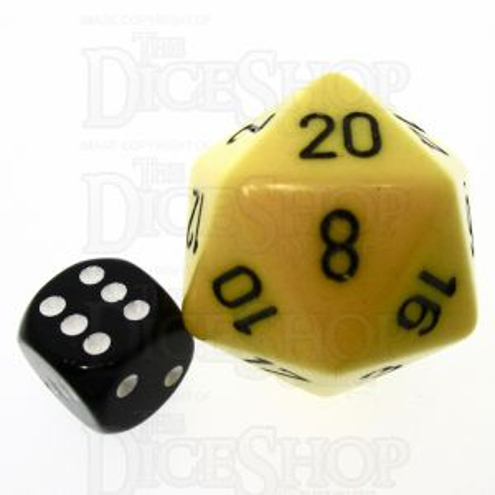 Chessex Opaque Yellow & Black JUMBO 34mm D20 Dice