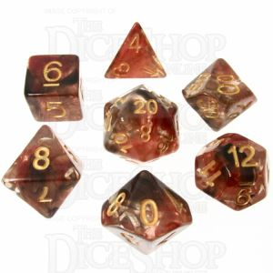 TDSO Pearl Swirl Black & Red with Gold 7 Dice Polyset