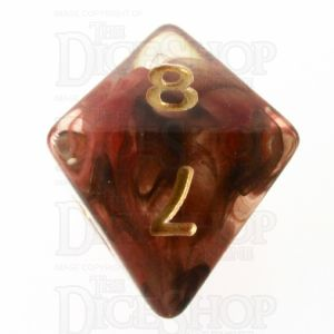 TDSO Pearl Swirl Black & Red with Gold D8 Dice