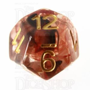 TDSO Pearl Swirl Black & Red with Gold D12 Dice