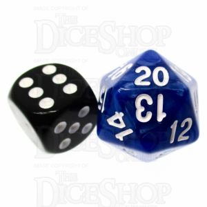 TDSO Pearl Blue & White 22mm D20 Countdown Dice