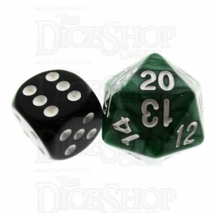 TDSO Pearl Green & White 22mm D20 Countdown Dice
