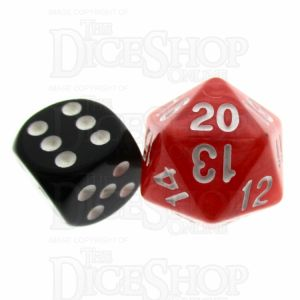 TDSO Pearl Red & White 22mm D20 Countdown Dice
