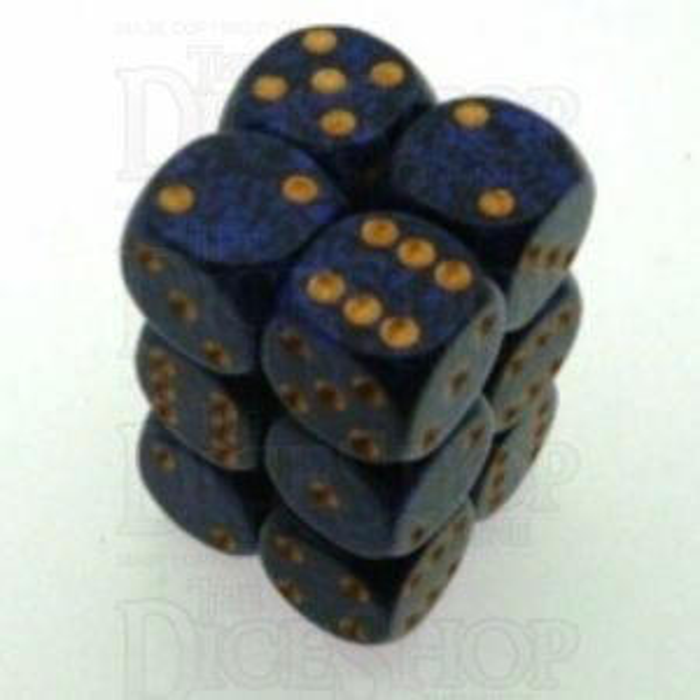 Chessex Speckled Golden Cobalt 12 x D6 Dice Set