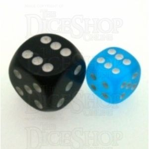 Chessex Frosted Caribbean Blue & White 12mm D6 Spot Dice