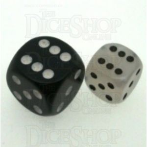 D&G Pearl White & Black 12mm D6 Spot Dice