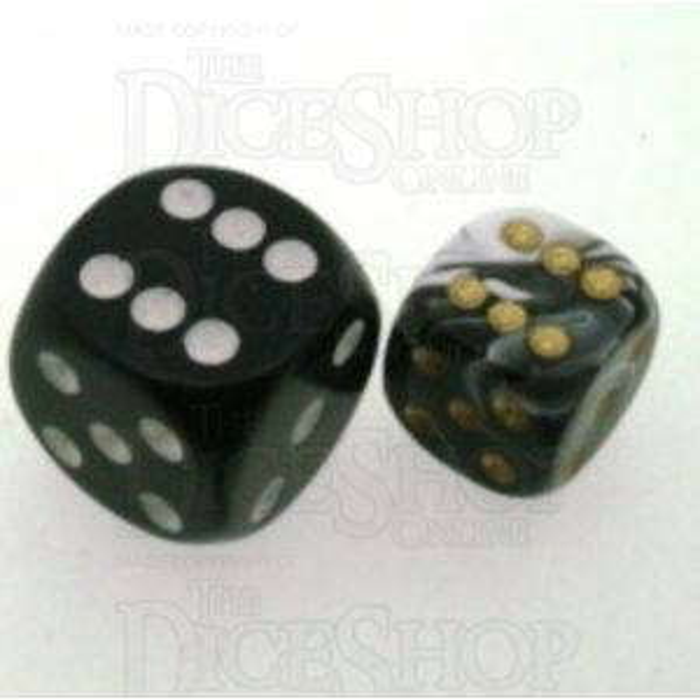 D&G Marble Black & White 12mm D6 Spot Dice