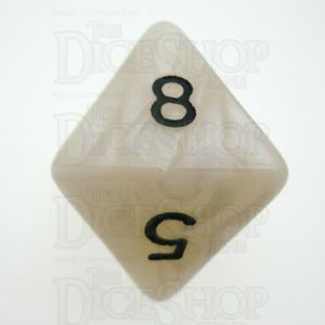 D&G Pearl White & Black D8 Dice