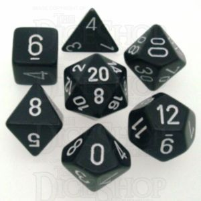 Chessex Opaque Black & White 7 Dice Polyset