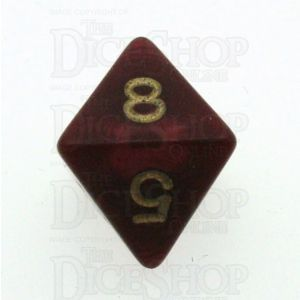D&G Pearl Red & Gold D8 Dice