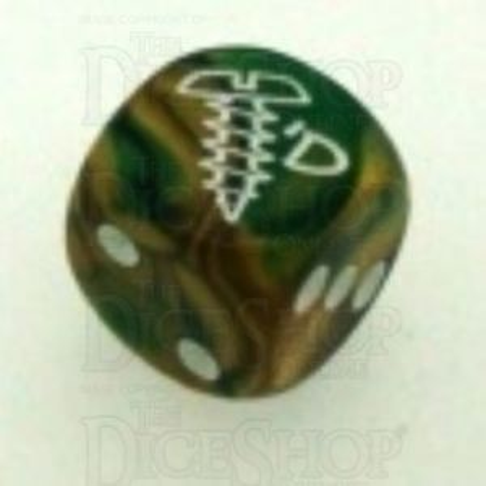 Chessex Gemini Gold & Green SCREWED Logo D6 Spot Dice
