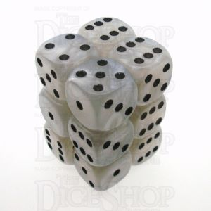 D&G Pearl White & Black 12 x D6 Dice Set