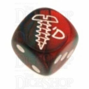 Chessex Gemini Blue & Red with Gold SCREWED Logo D6 Spot Dice