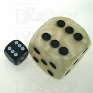 D&G Pearl White & Black MASSIVE 36mm D6 Spot Dice