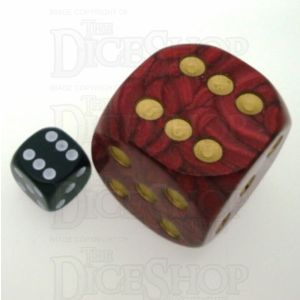 D&G Pearl Red & Gold MASSIVE 36mm D6 Spot Dice