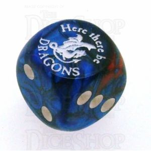Chessex Gemini Blue & Red with White Here There Be Dragons D6 Spot Dice