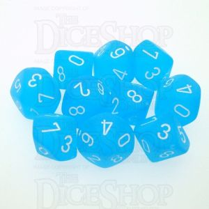 Chessex Frosted Caribbean Blue & White 10 x D10 Dice Set