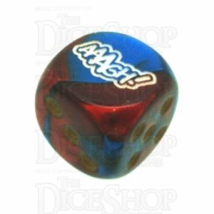 Chessex Gemini Blue & Red with Gold AAAGH Logo D6 Spot Dice