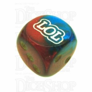Chessex Gemini Blue & Red with Gold LOL Logo D6 Spot Dice