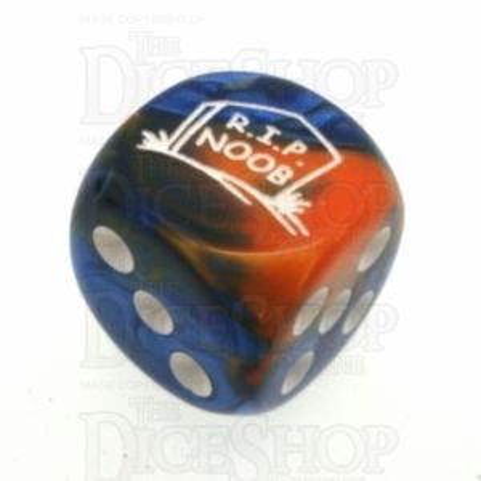 Chessex Gemini Blue & Orange RIP NOOB Logo D6 Spot Dice