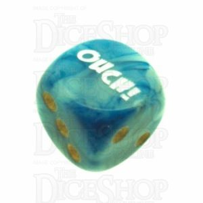 Chessex Phantom Teal OUCH! Logo D6 Spot Dice