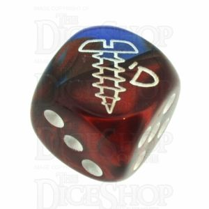 Chessex Gemini Blue & Red with White SCREWED Logo D6 Spot Dice