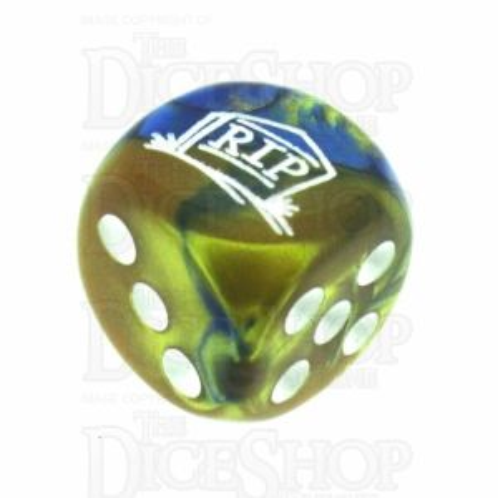 Chessex Gemini Blue & Gold RIP Logo D6 Spot Dice