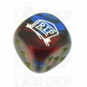 Chessex Gemini Blue & Red with Gold RIP Logo D6 Spot Dice