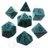 TDSO Turquoise Green Synthetic 16mm Precious Gem 7 Dice Polyset