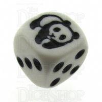 Koplow White & Black Panda Logo D6 Spot Dice