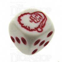 Koplow White & Red Christmas Santa Logo D6 Spot Dice