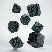 Q Workshop Pathfinder Iron Gods Black & Blue 7 Dice Polyset