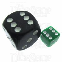 Koplow Opaque Green & White Square Cornered 8mm D6 Spot Dice