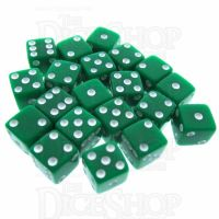 Koplow Opaque Green & White Square Cornered 8mm 20 x D6 Spot Dice Set