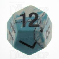 TDSO Turquoise Blue & White Synthetic 16mm Precious Gem D12 Dice