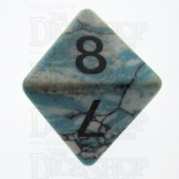TDSO Turquoise Blue & White Synthetic 16mm Precious Gem D8 Dice