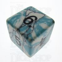 TDSO Turquoise Blue & White Synthetic 16mm Precious Gem D6 Dice