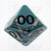 TDSO Turquoise Blue & White Synthetic 16mm Precious Gem Percentile Dice