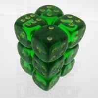 Koplow Glow in the Dark Spot Translucent Green 12 x D6 Dice Set