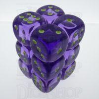 Koplow Glow in the Dark Spot Translucent Purple 12 x D6 Dice Set