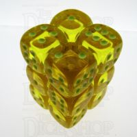Koplow Glow in the Dark Spot Translucent Yellow 12 x D6 Dice Set