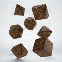 Q Workshop Pathfinder Giantslayer Brown & Gold 7 Dice Polyset