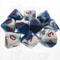 Chessex Gemini Astral Blue & White 10 x D10 Dice Set