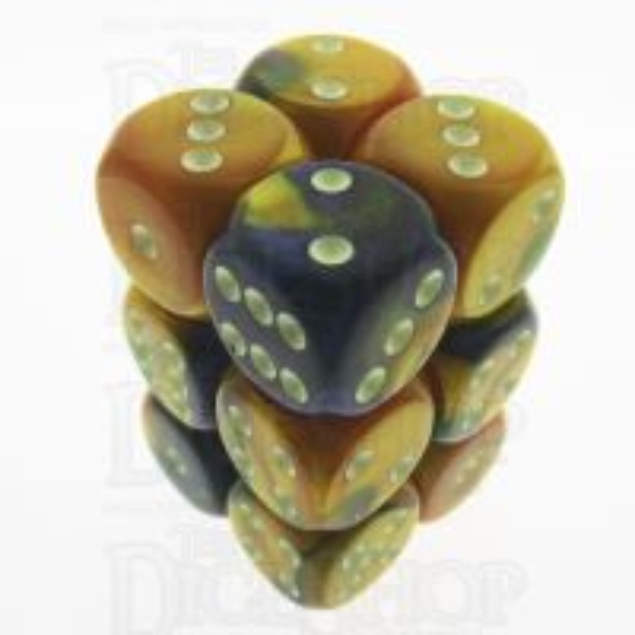 Chessex Gemini Masquerade & Yellow 12 x D6 Dice Set - Discontinued