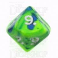 D&G Toxic Slime Green & Blue D10 Dice